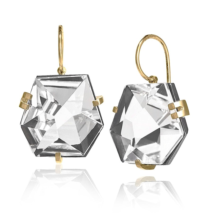 Elizabeth Garvin Faceted Rock Crystal Gold Oxidized Silver Handmade Drop Earrings - Szor Collections