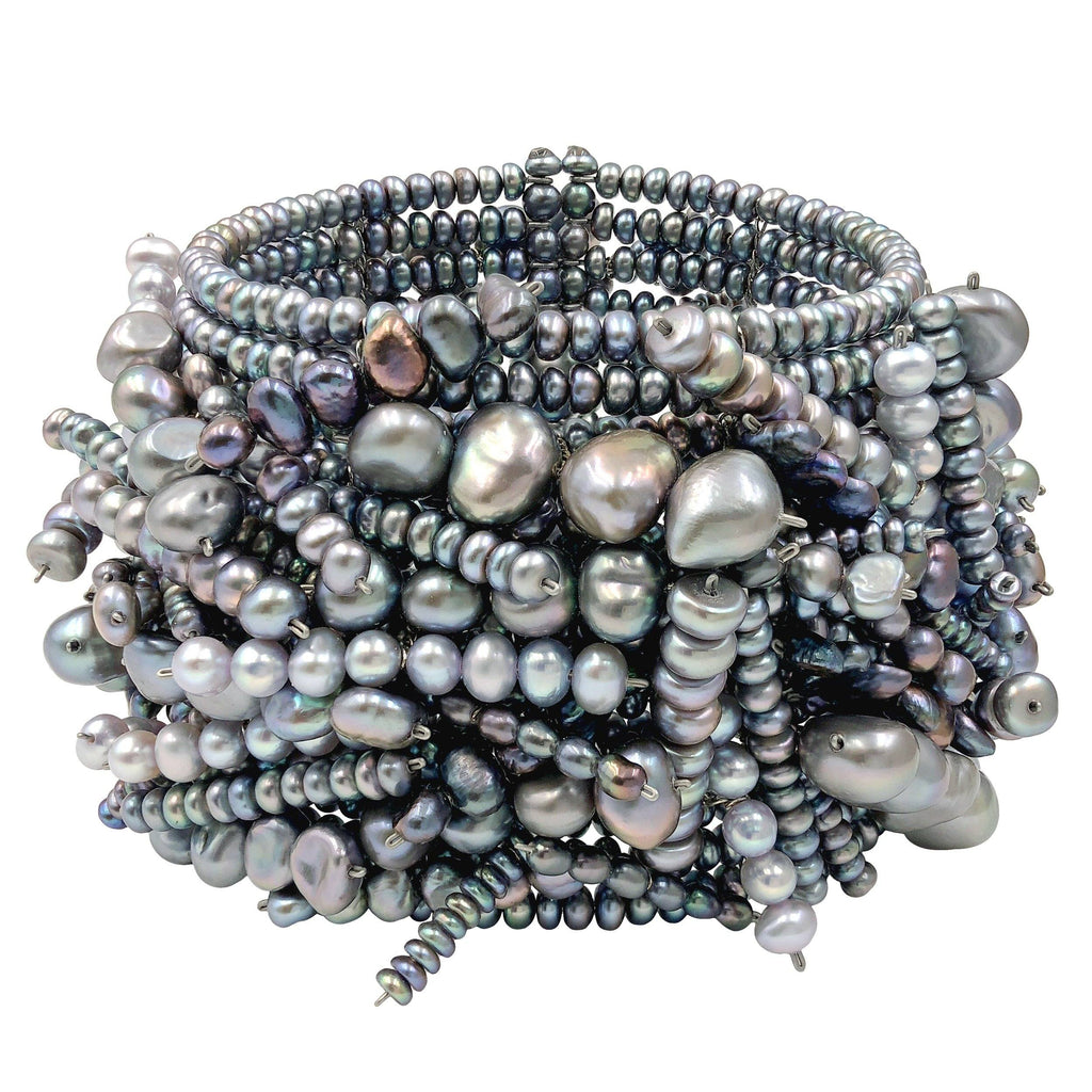 Estyn Hulbert Blue and Silver Pearl One of a Kind Chaos Cuff Bracelet - Szor Collections