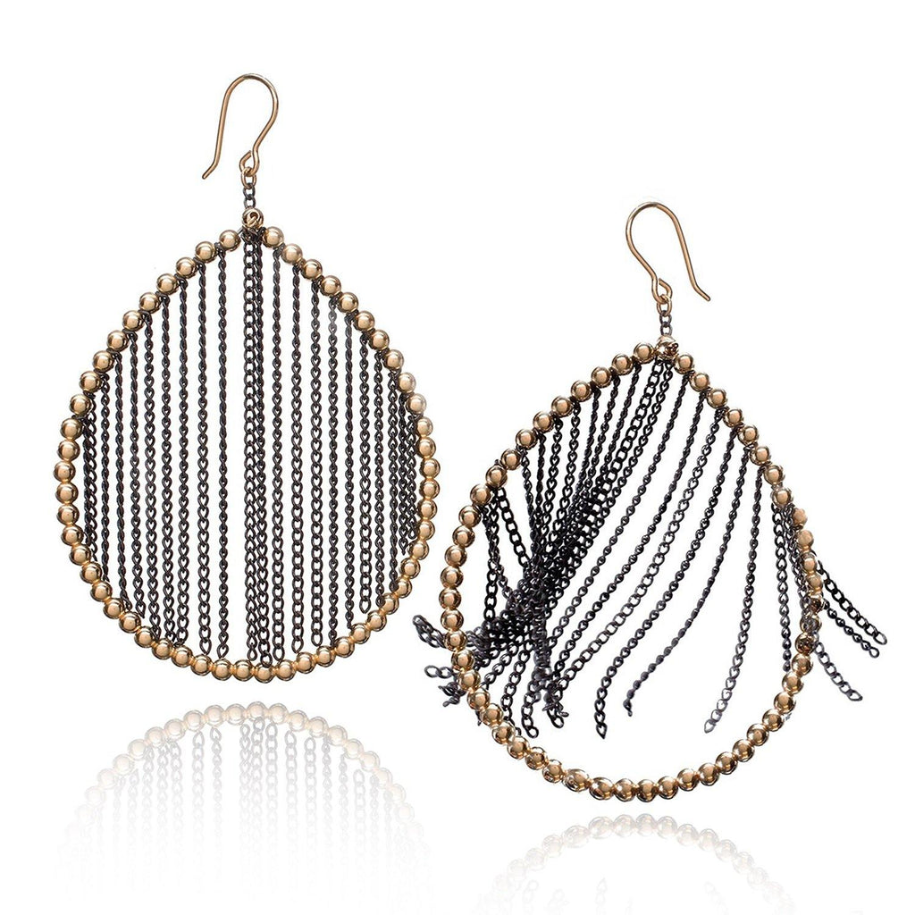 Estyn Hulbert Oxidized Fringe Chain Large Gold Teardrop Earrings - Szor Collections