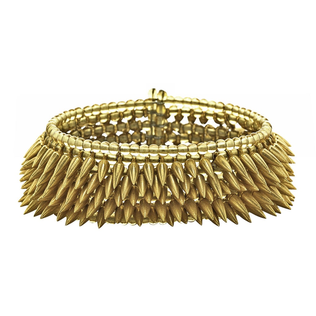 Estyn Hulbert Five Row Matte Gold Flexible Bullet Cuff (Special Order) - Szor Collections