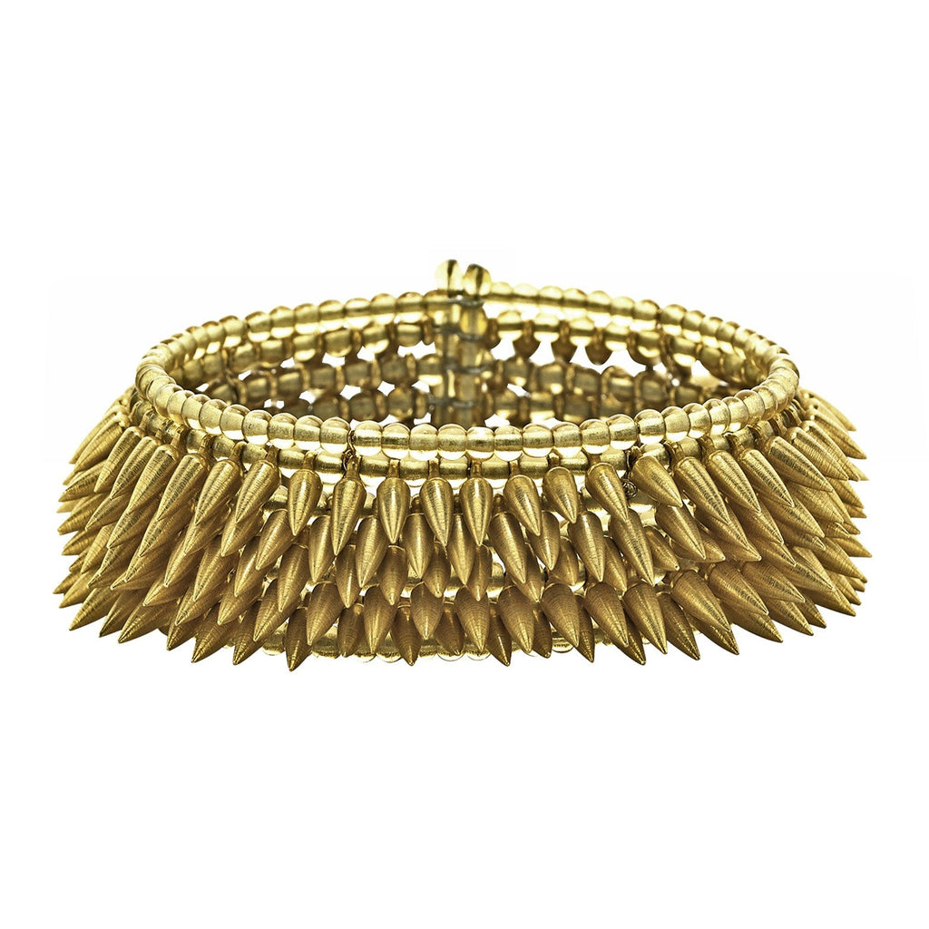 Estyn Hulbert Five Row Matte Gold Flexible Bullet Cuff - Szor Collections