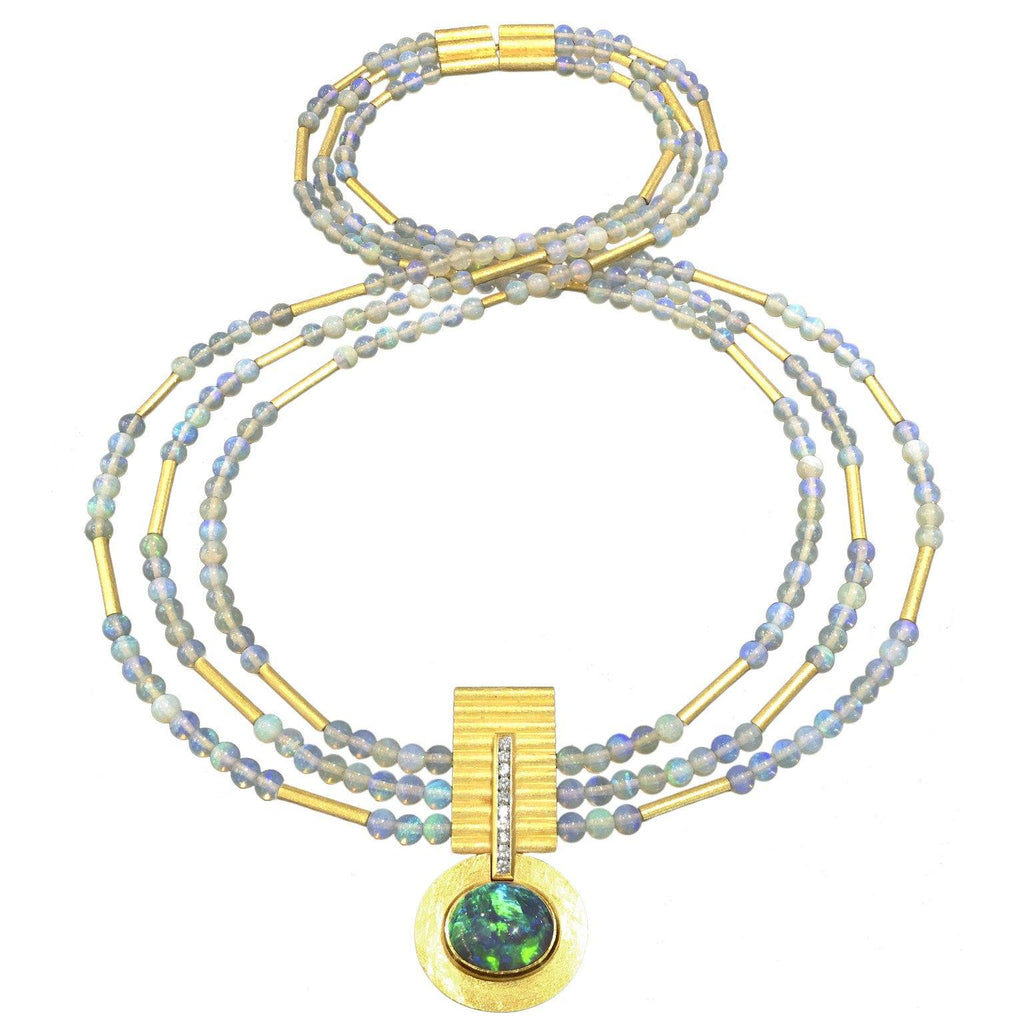 Phenomenal Lightning Ridge Black Opal Diamond White Opal Multistrand Necklace - Szor Collections