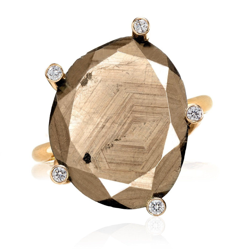 Erich Zimmermann Natural Reflective Brown Sapphire Diamond Gold Ring - Szor Collections