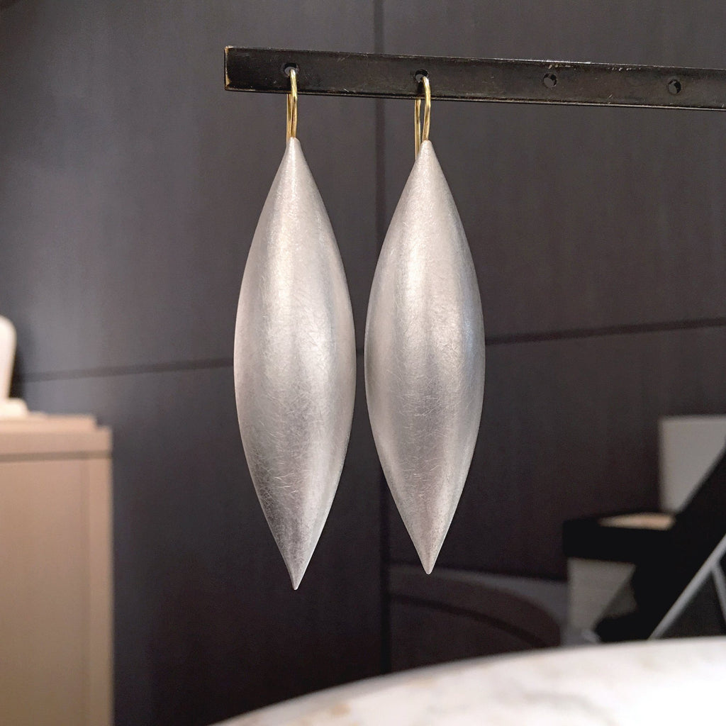 Erich Zimmermann Large Cocoon Pod Silver Earrings - Szor Collections