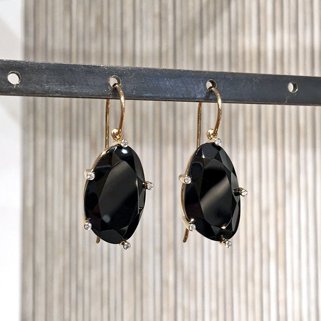 Erich Zimmermann Faceted Black Spinel Diamond Gold Earrings - Szor Collections