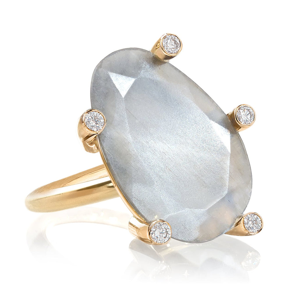 Erich Zimmermann Glowing Reflective Moonstone White Diamond Gold Snowflake Ring - Szor Collections