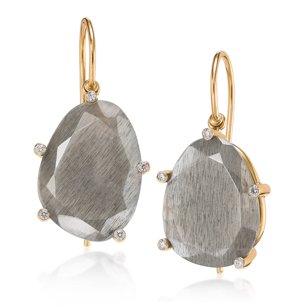 Erich Zimmermann Reflective Gray Moonstone Diamond Gold Earrings - Szor Collections