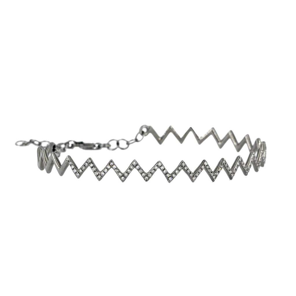 Fern Freeman - Fern Freeman Diamond Zig Zag Black Gold Bracelet - Szor Collections