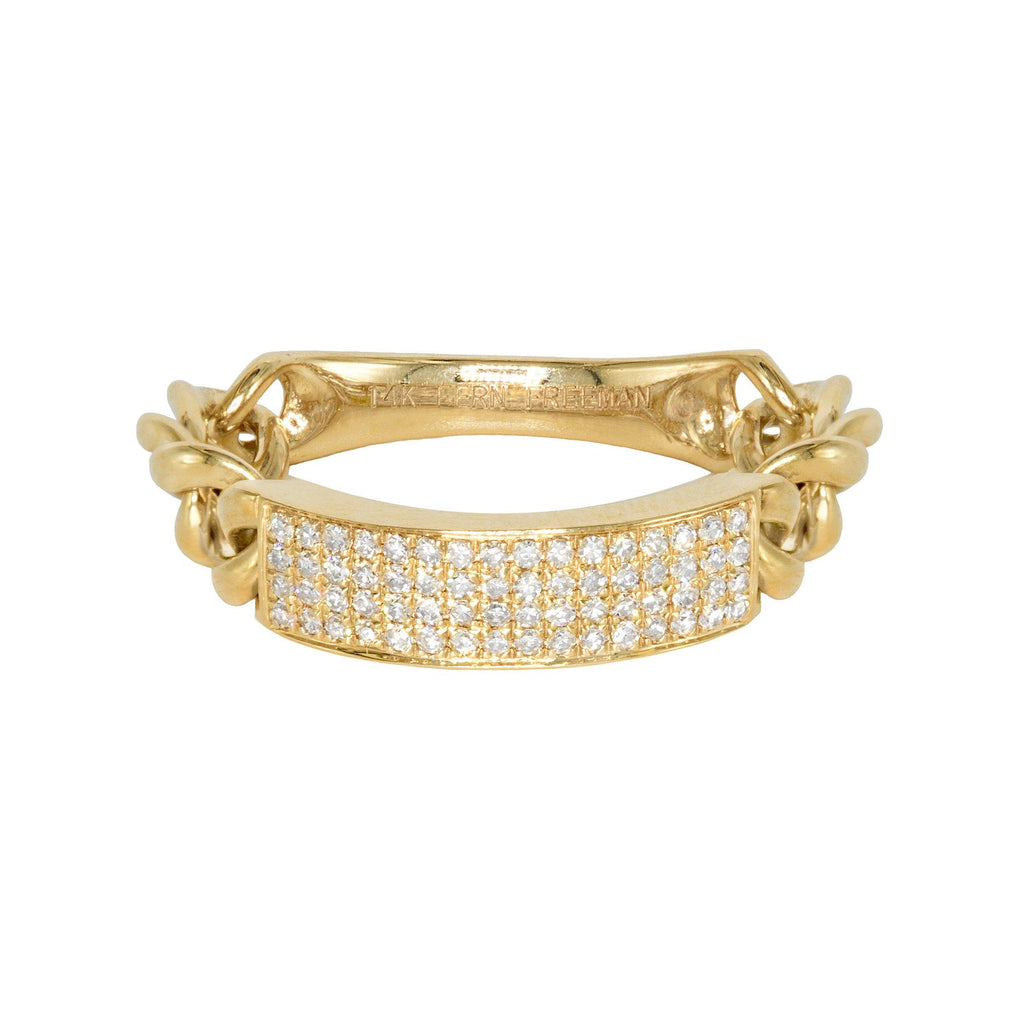 Fern Freeman Curved Diamond Bar Flexible Chain Gold Ring (Special Order) - Szor Collections