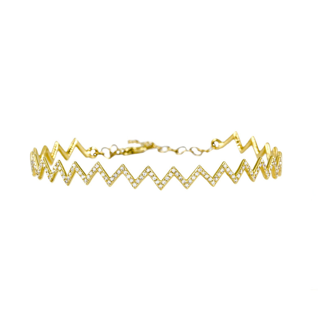 Fern Freeman Diamond Zig Zag Yellow Gold Bracelet - Szor Collections