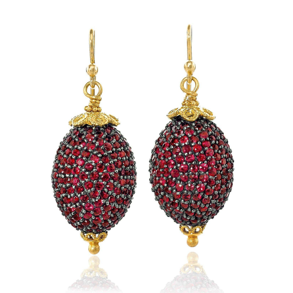 Fern Freeman Shimmering Ruby Yellow Gold Oval Dangle Drop Earrings - Szor Collections