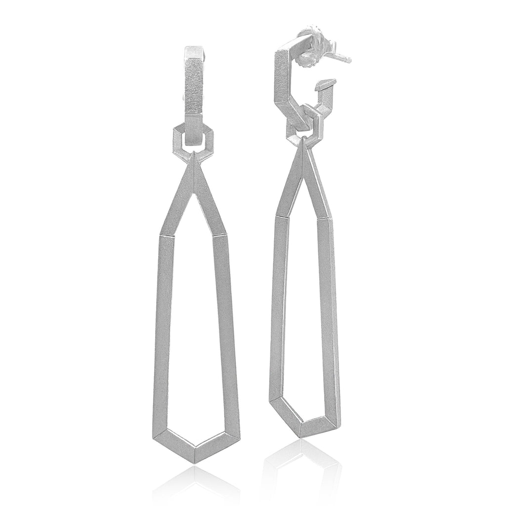 Geoffrey Good Satin Silver Detachable Drop Hex Day and Night Earrings - Szor Collections