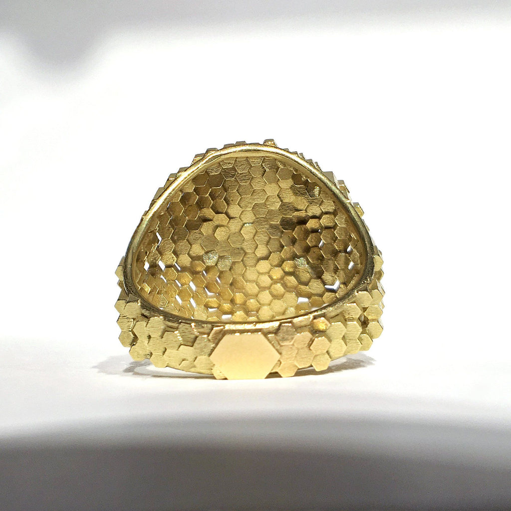 Jo Hayes Ward Diamond Hex Dome Structures Reflective Gold Ring - Szor Collections