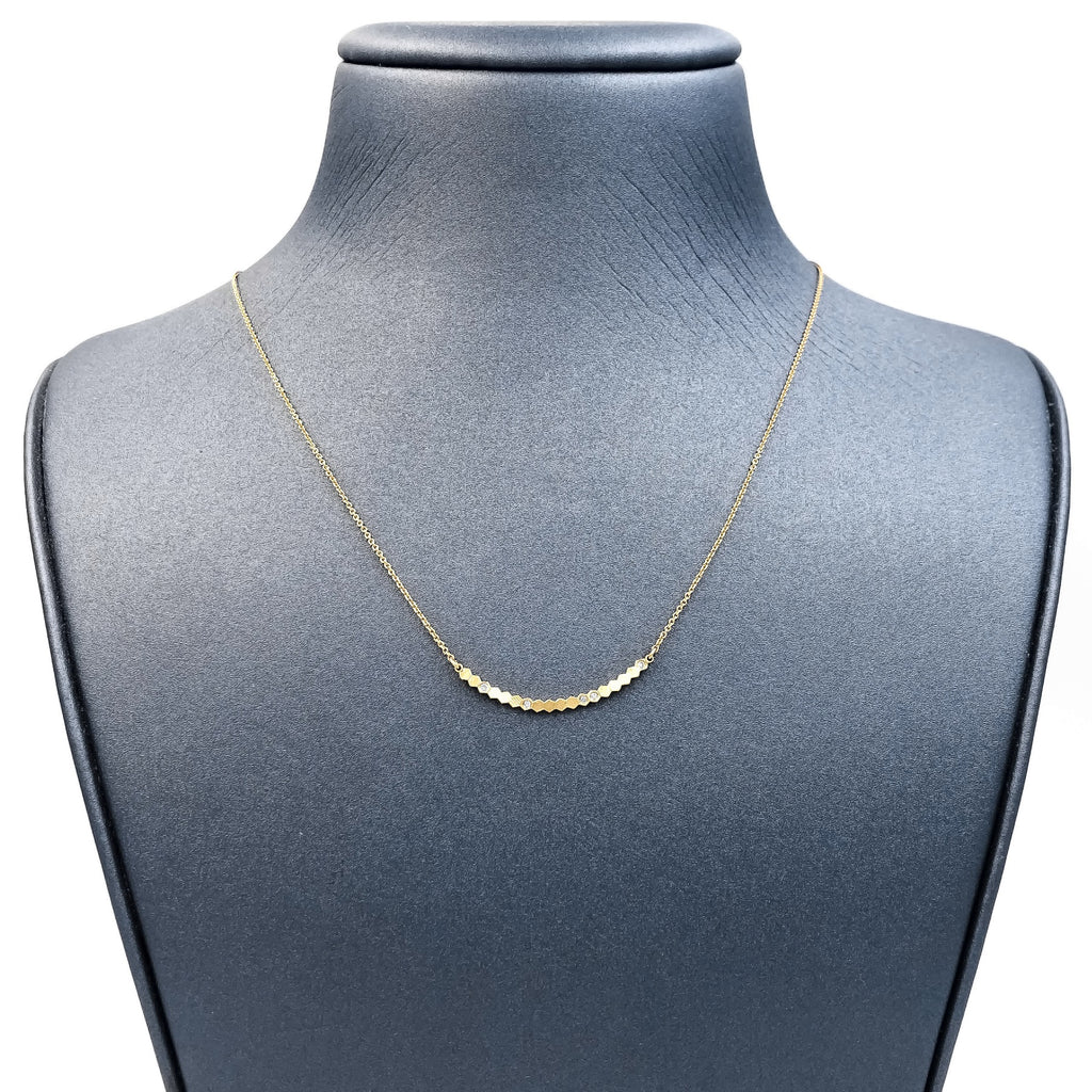 Jo Hayes Ward White Diamond Reflective Yellow Gold Curved Bar Necklace - Szor Collections