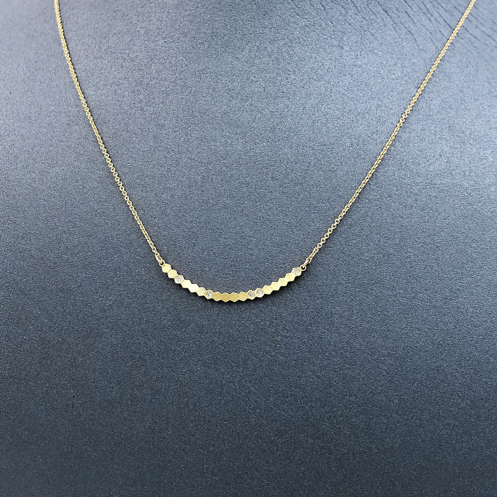 Jo Hayes Ward White Diamond Reflective Yellow Gold Curved Bar Necklace (Special Order) - Szor Collections