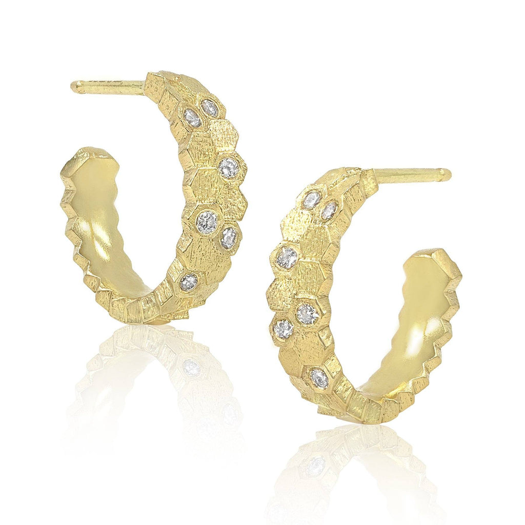 Jo Hayes Ward Gold Diamond Double Hex Hoop Earrings - Szor Collections
