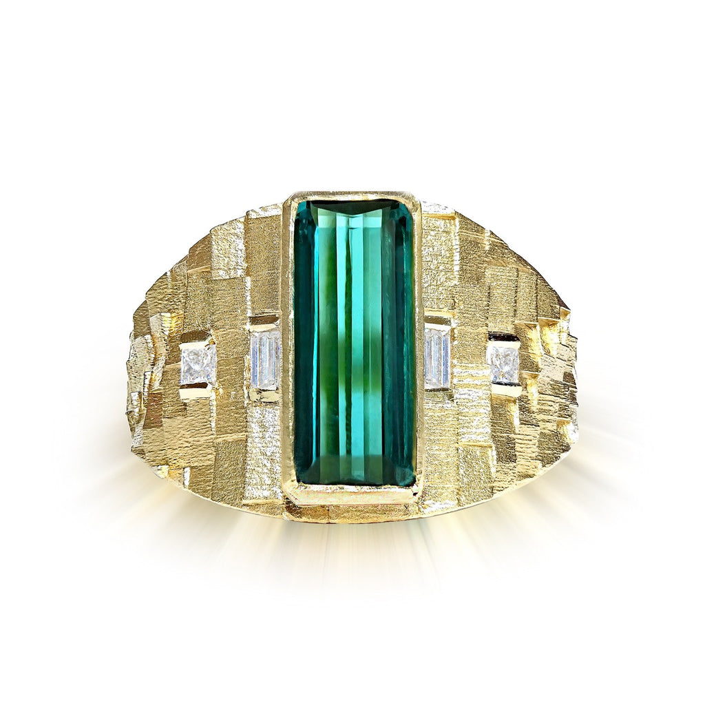 Jo Hayes Ward One of a Kind Green Tourmaline Diamond Reflective Gold Ring - Szor Collections - 1