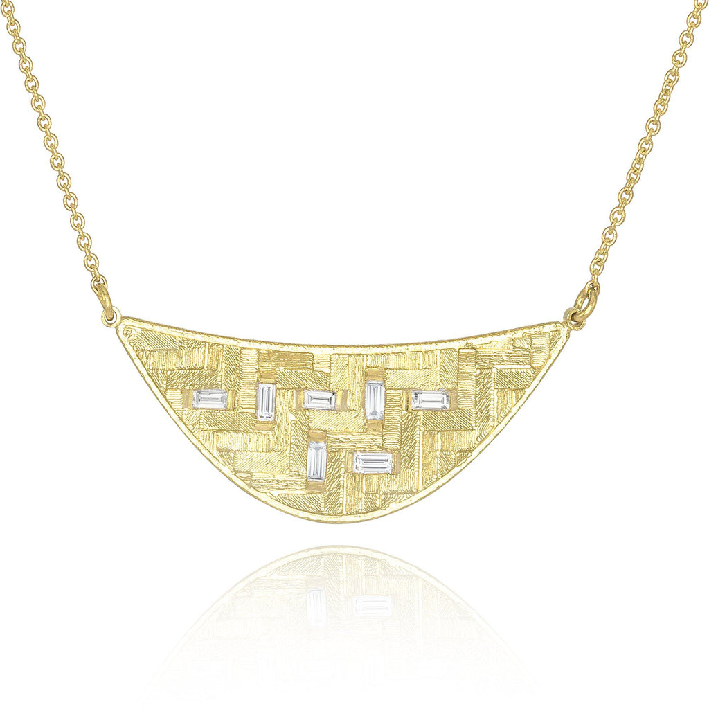 Jo Hayes Ward Diamond Baguette Crescent Parquet Gold Necklace - Szor Collections