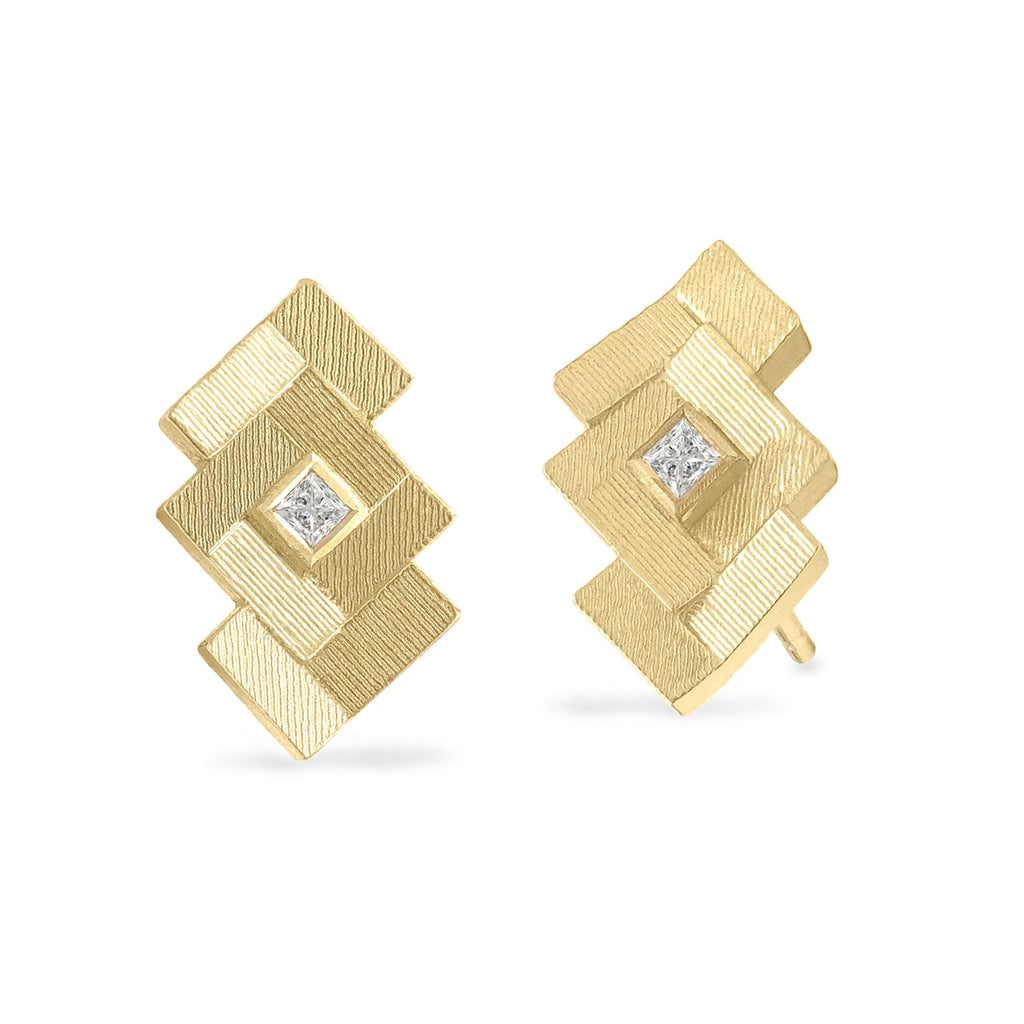 Jo Hayes Ward Princess Cut Diamond Reflective Gold Parquet Stud Earrings - Szor Collections