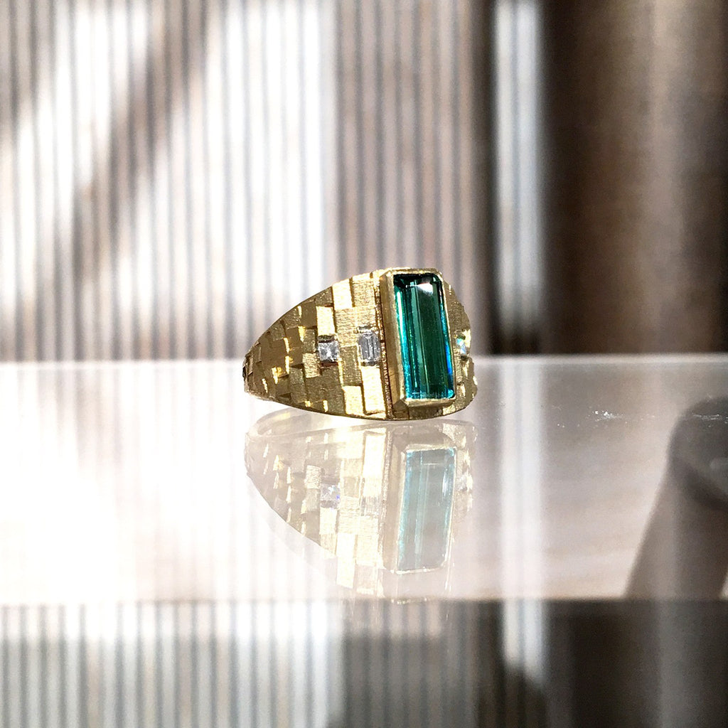 Jo Hayes Ward One of a Kind Green Tourmaline Diamond Reflective Gold Ring - Szor Collections - 2