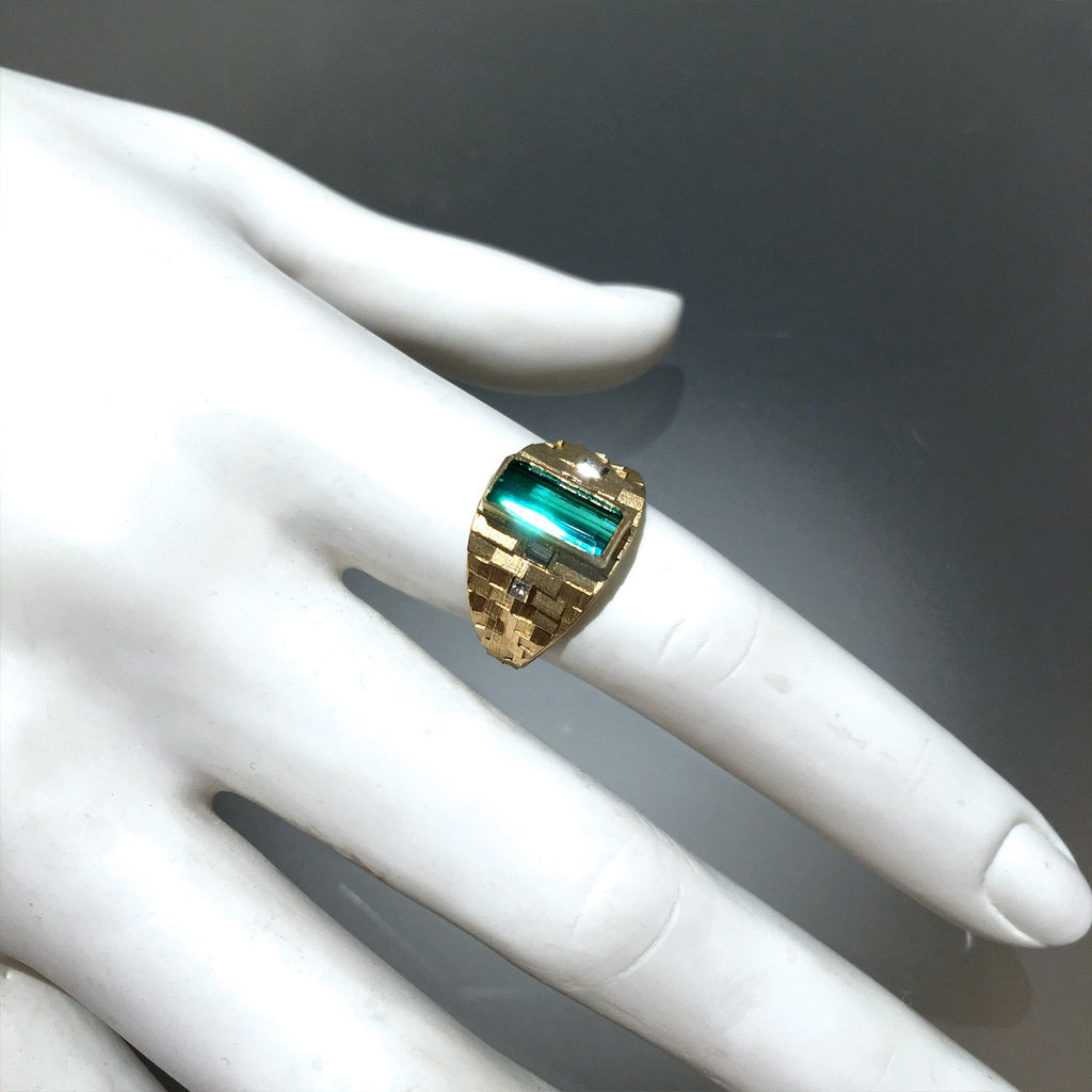 Jo Hayes Ward One of a Kind Green Tourmaline Diamond Reflective Gold Ring - Szor Collections - 3