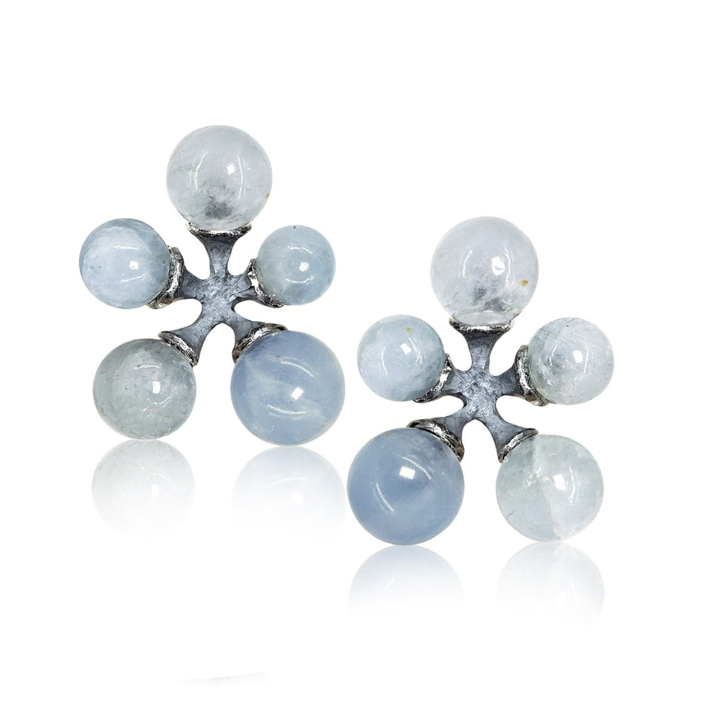 John Iversen Mixed Blue Aquamarine Oxidized Silver Micro Jack Stud Earrings - Szor Collections