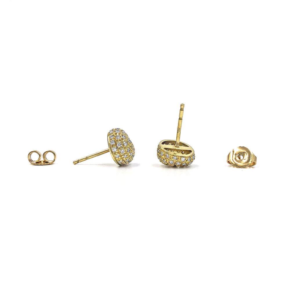 John Iversen White Diamond Gold Pebble Stud Earrings - Szor Collections