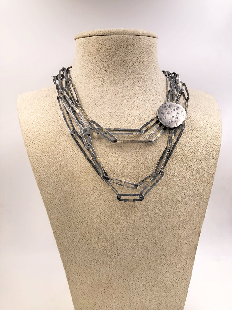 John Iversen Extra Long One of a Kind Oxidized Silver Gold Chain Link Necklace - Szor Collections