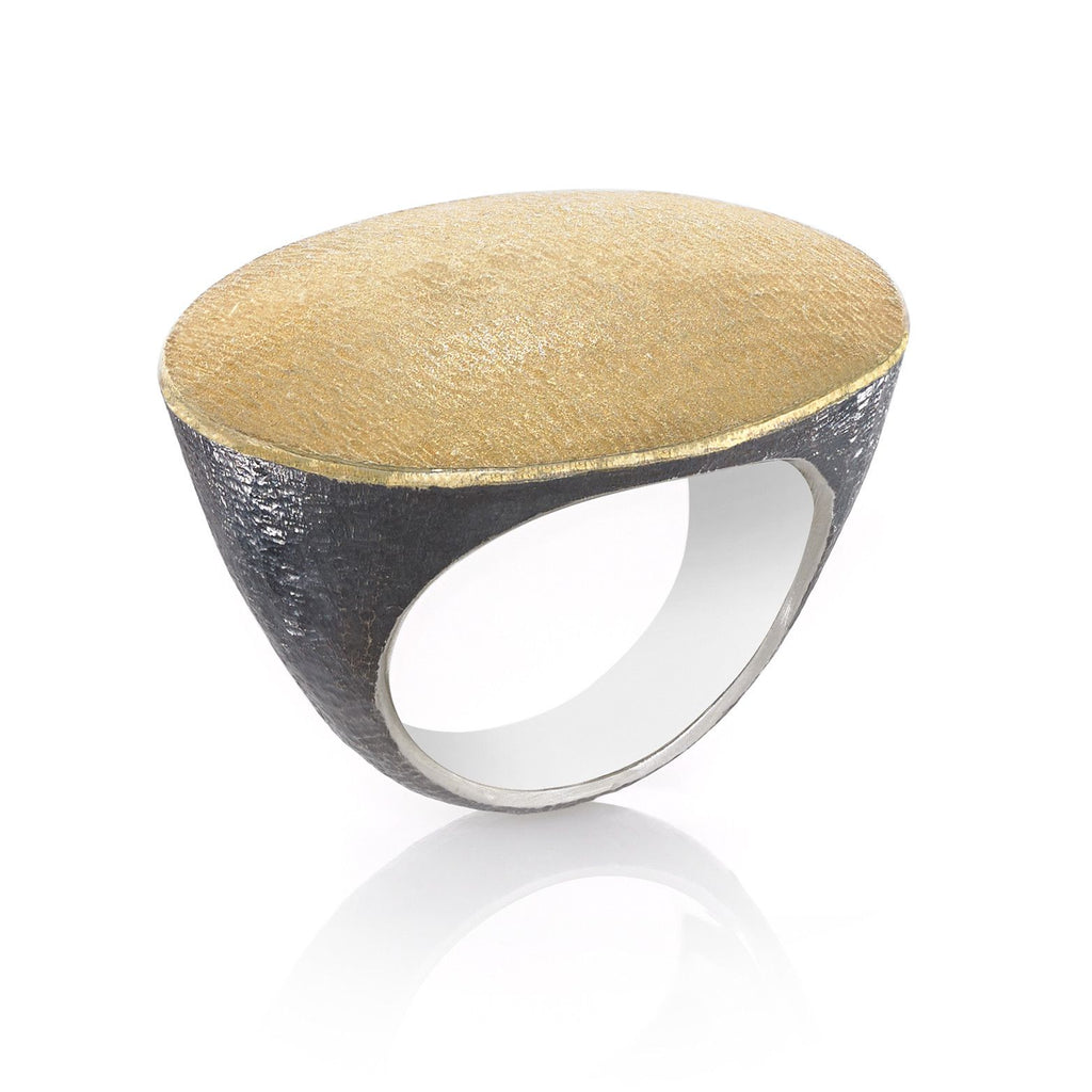 John Iversen Handmade Matte Gold Oxidized Silver Flat Top Ring (Special Order) - Szor Collections