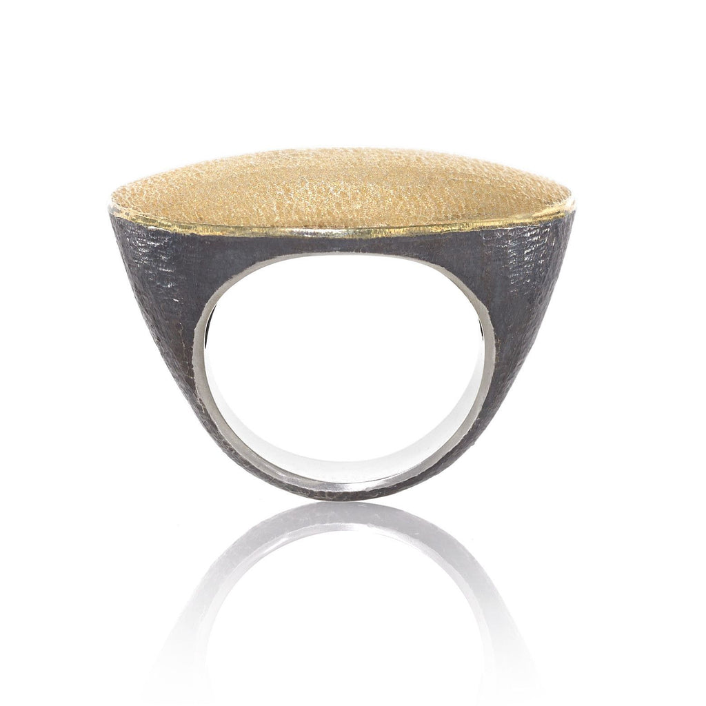 John Iversen Handmade Matte Gold Oxidized Silver Flat Top Ring (Special Order) - Szor Collections - 1