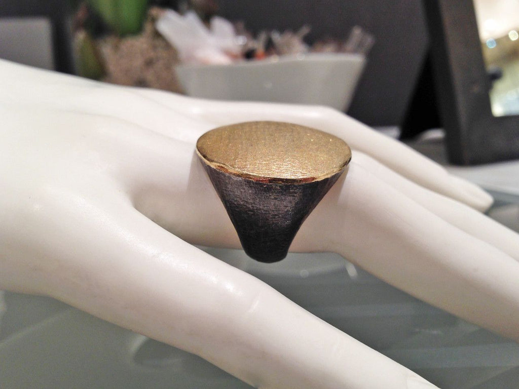 John Iversen Handmade Matte Gold Oxidized Silver Flat Top Ring (Special Order) - Szor Collections - 4