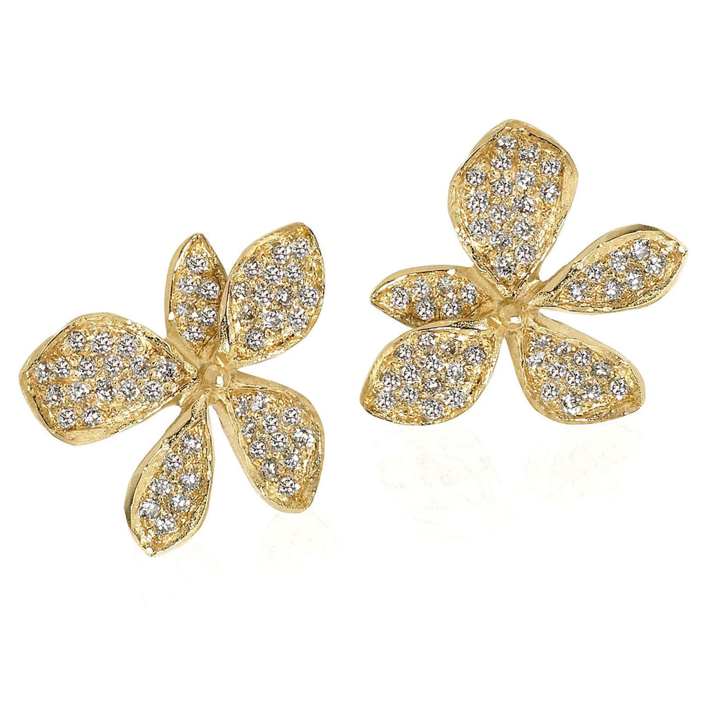 John Iversen - John Iversen Gold Hydrangea Earrings - Szor Collections - 3