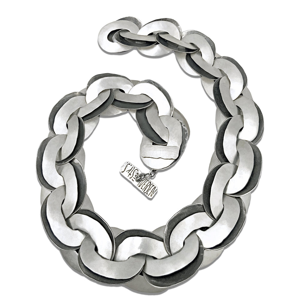 John Iversen Hammered Silver Double Links Chain Necklace - Szor Collections