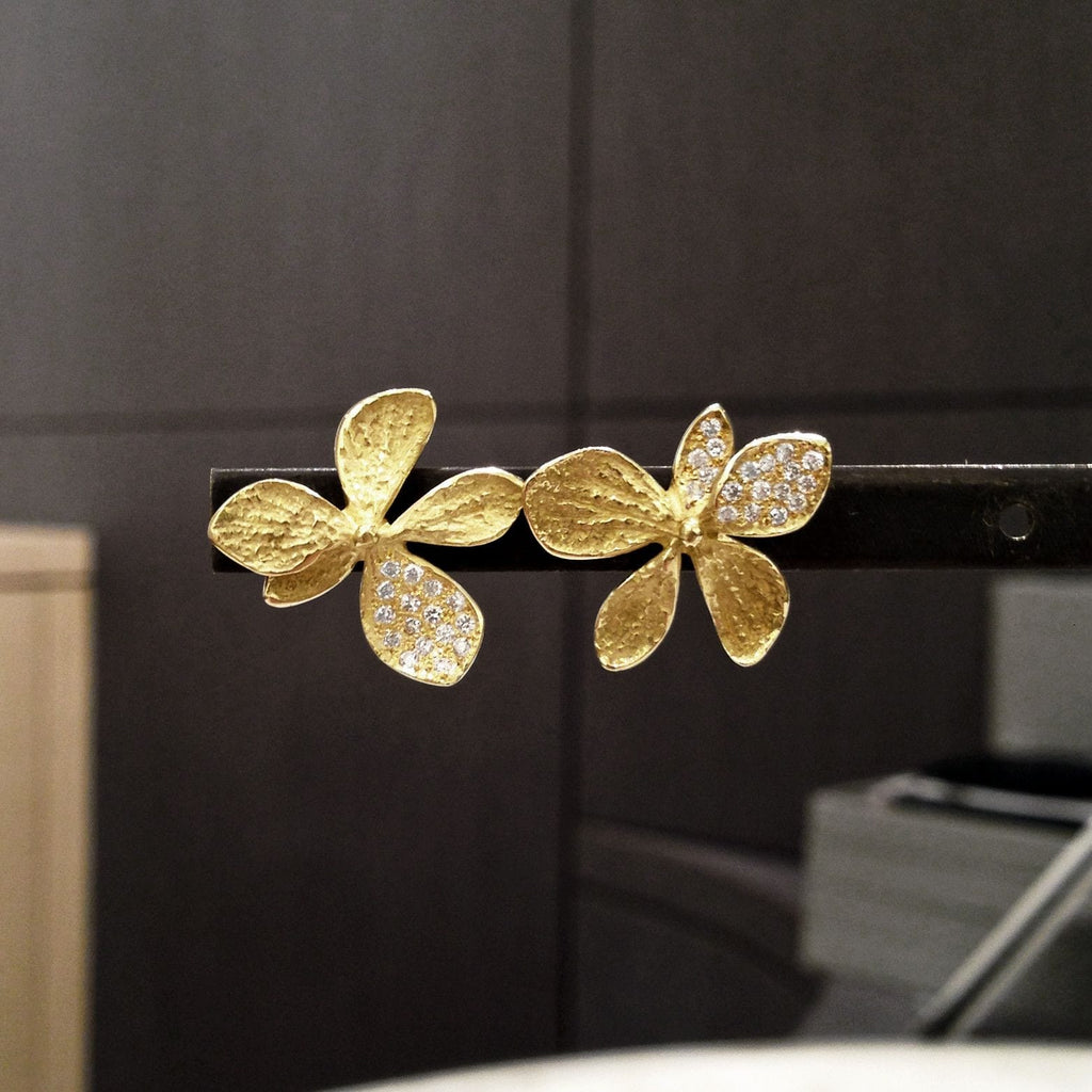 John Iversen - John Iversen Gold Hydrangea Earrings - Szor Collections - 6