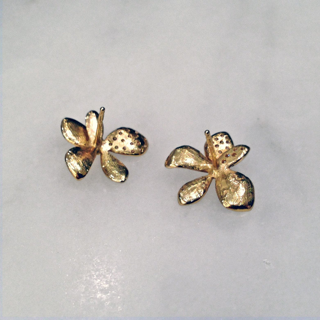 John Iversen - John Iversen Gold Hydrangea Earrings - Szor Collections - 5
