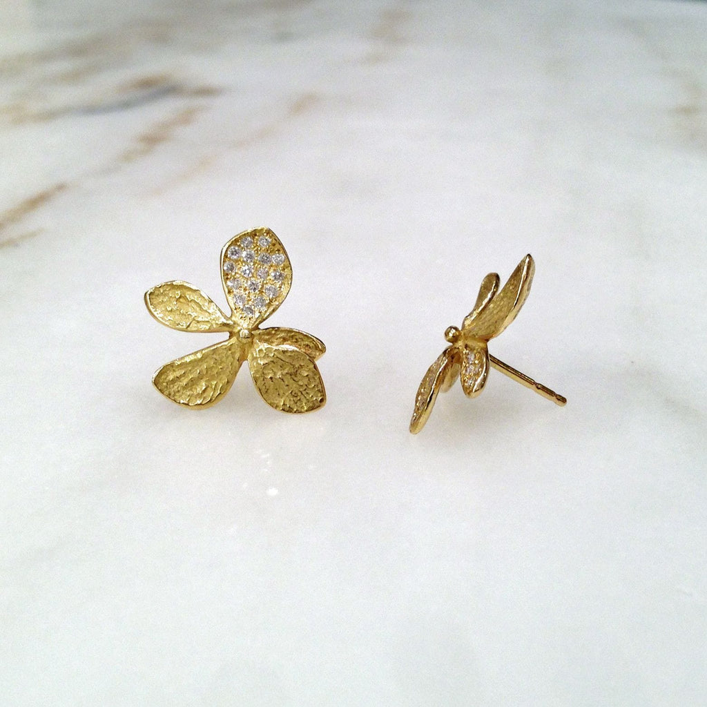 John Iversen - John Iversen Gold Hydrangea Earrings - Szor Collections - 4