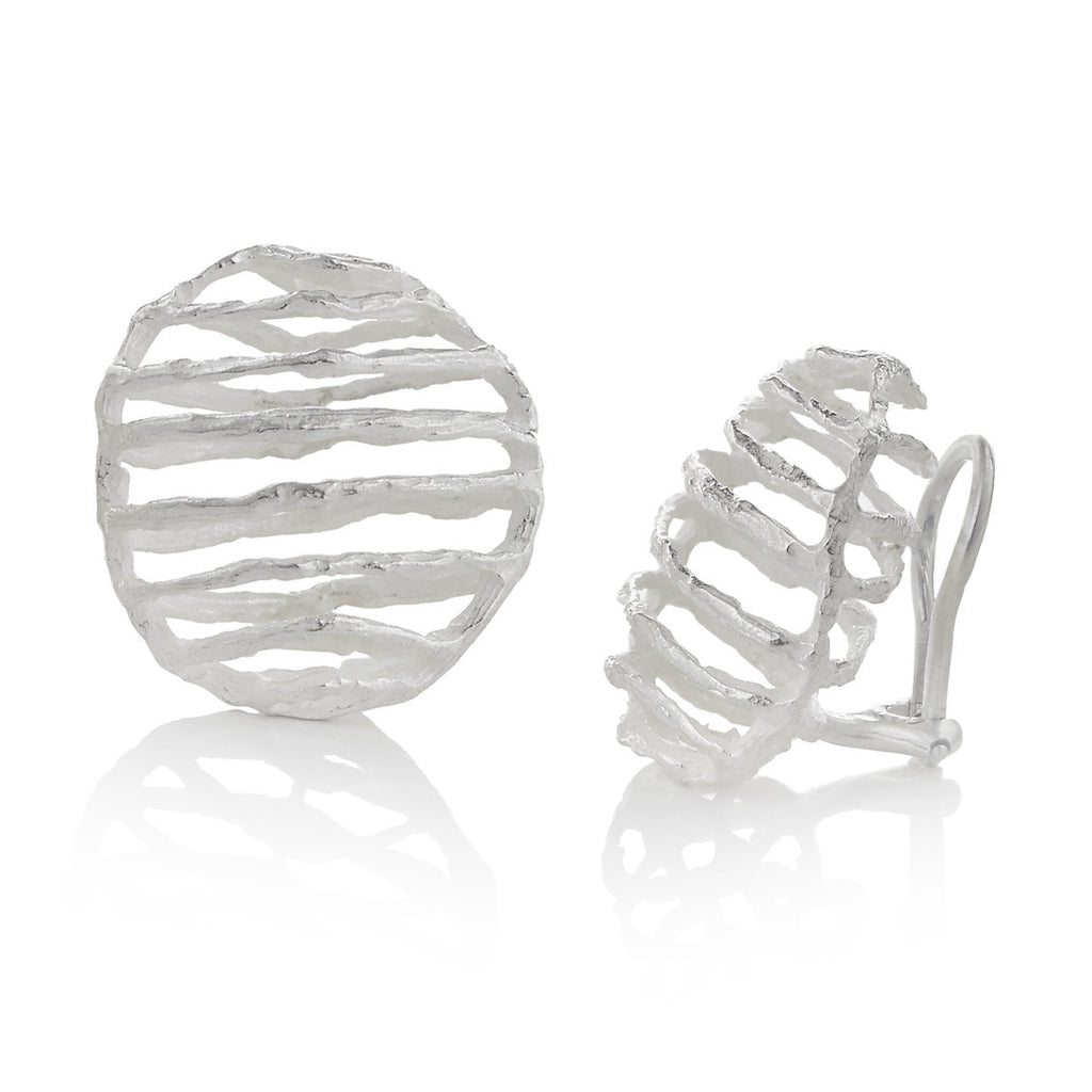 John Iversen Bright Sterling Silver Basket Clip Earrings - Szor Collections