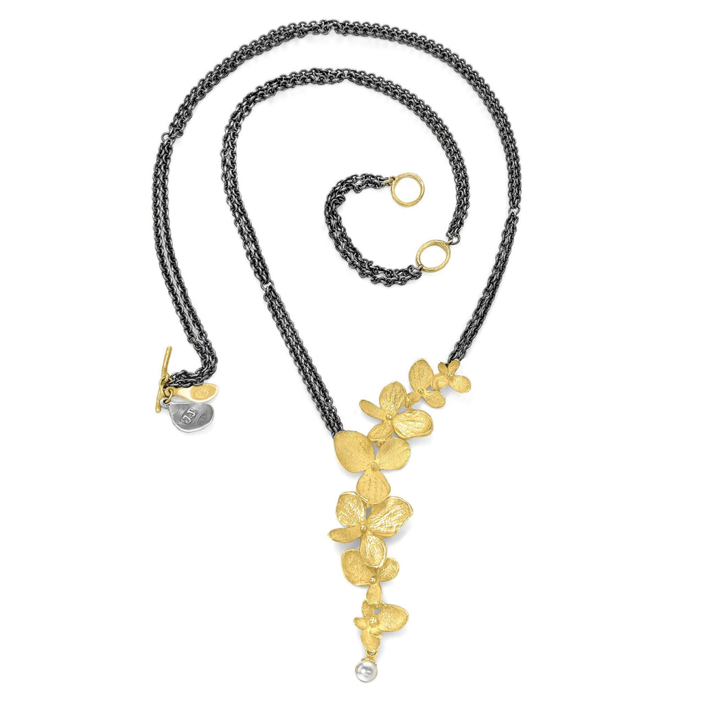 John Iversen Gold Hydrangea Pearl Drop Double Oxidized Silver Chain Necklace - Szor Collections