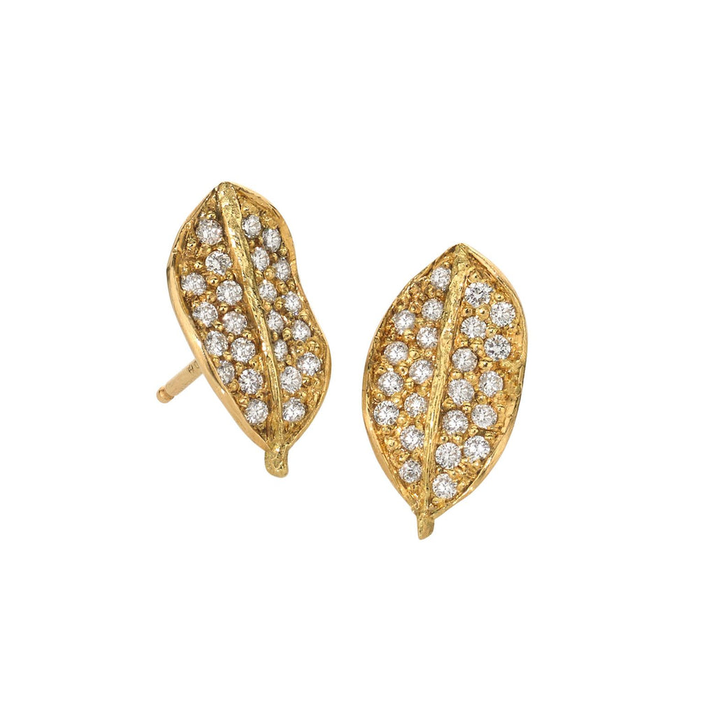 John Iversen Diamond Gold Boxwood Stud Earrings (Special Order) - Szor Collections