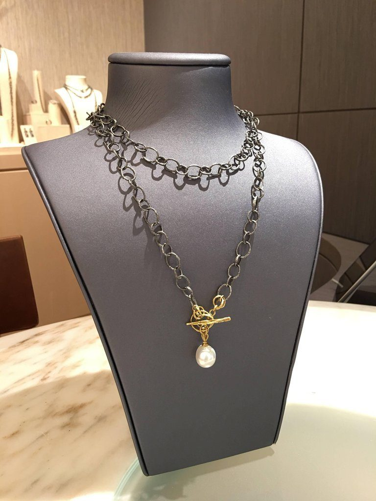 John Iversen South Sea Pearl Double Twig Chain Necklace and Lariat - Szor Collections