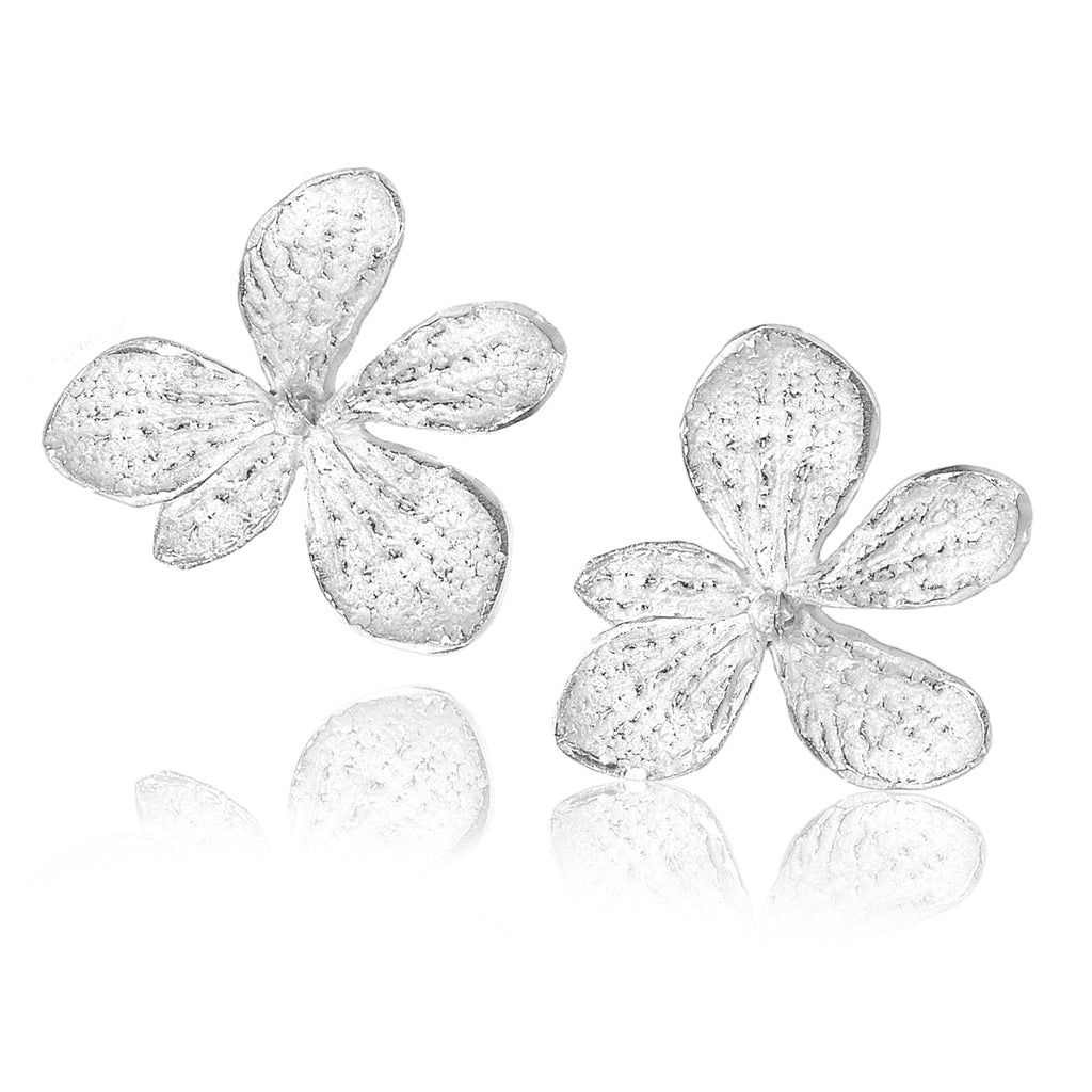John Iversen Bright Sterling Silver Single Hydrangea Stud Earrings - Szor Collections