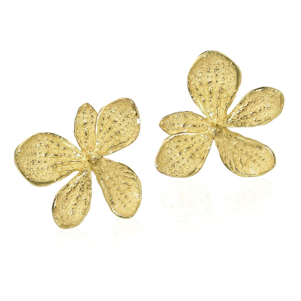 John Iversen - John Iversen Gold Hydrangea Earrings - Szor Collections - 2