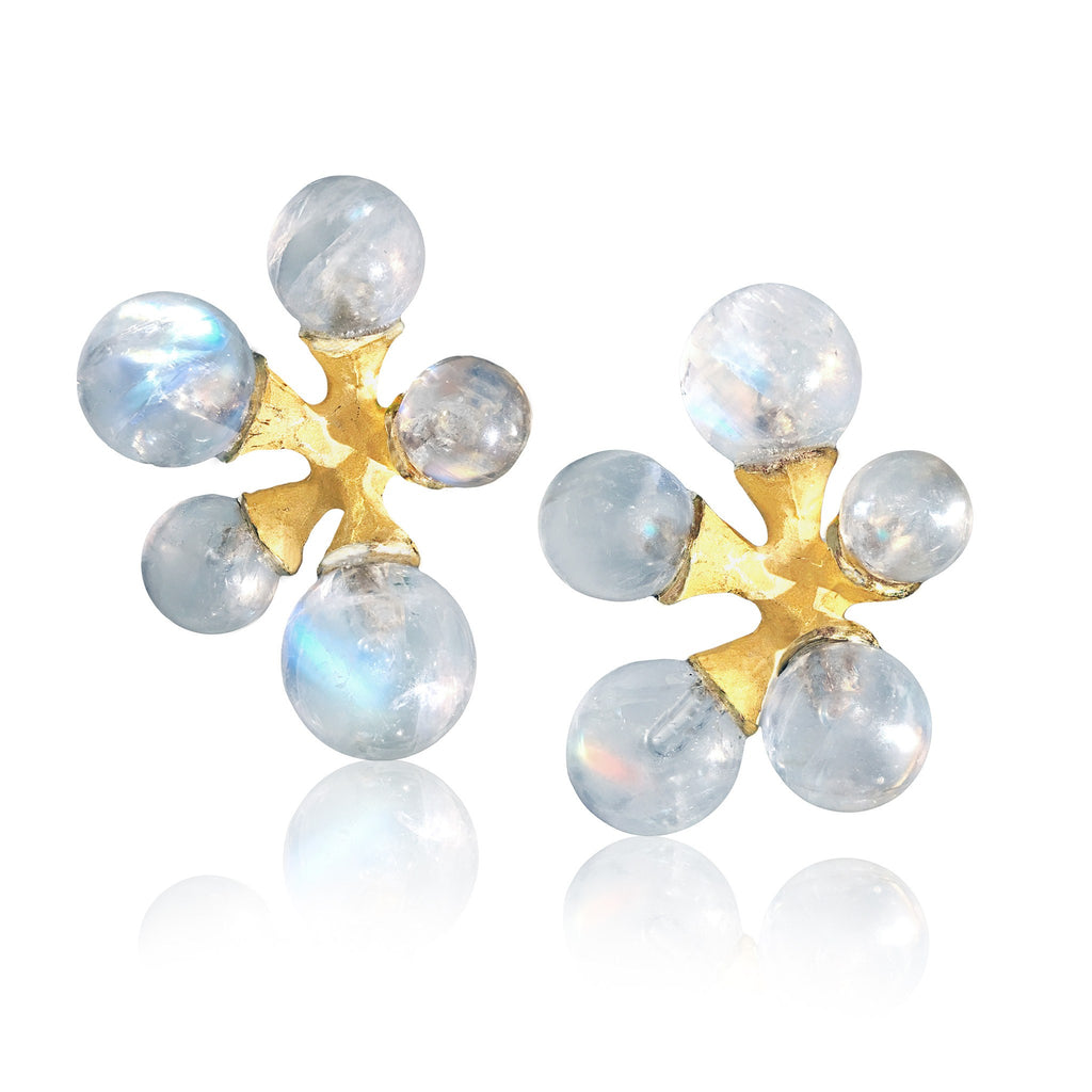 John Iversen Rainbow Moonstone Gold Micro Jack Stud Earrings (Special Order) - Szor Collections