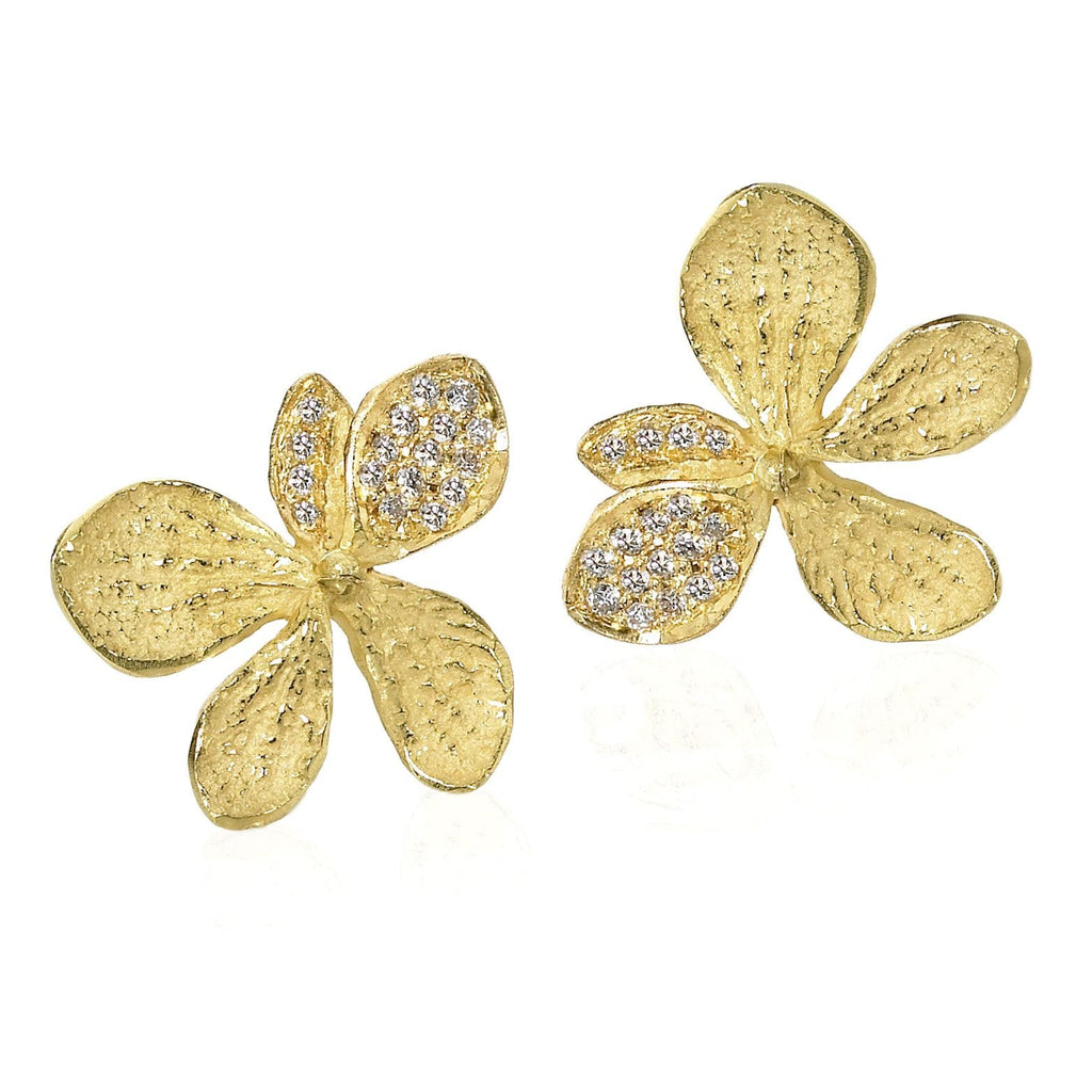 John Iversen Assorted Gold and Diamond Hydrangea Earrings - Szor Collections