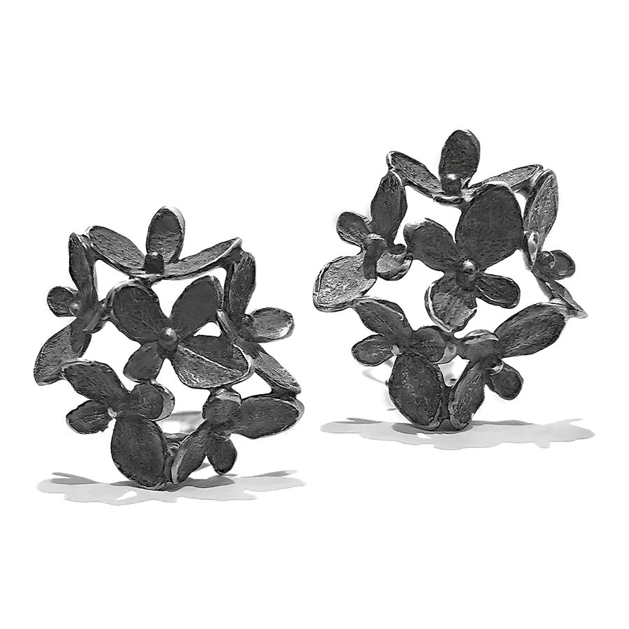 John Iversen Six Element Hydrangea Oxidized Silver Clip Earrings - Szor Collections