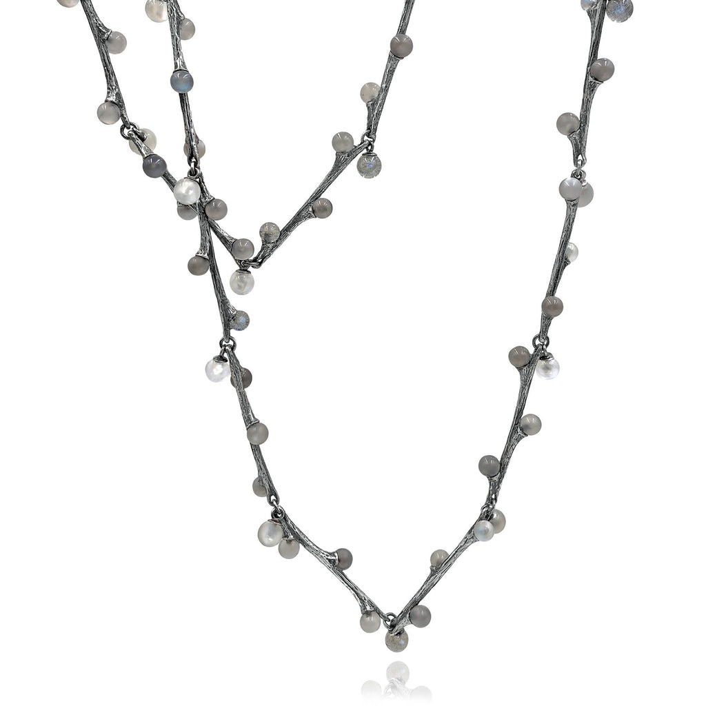 John Iversen Labradorite and Moonstone Long Willow Necklace - Szor Collections