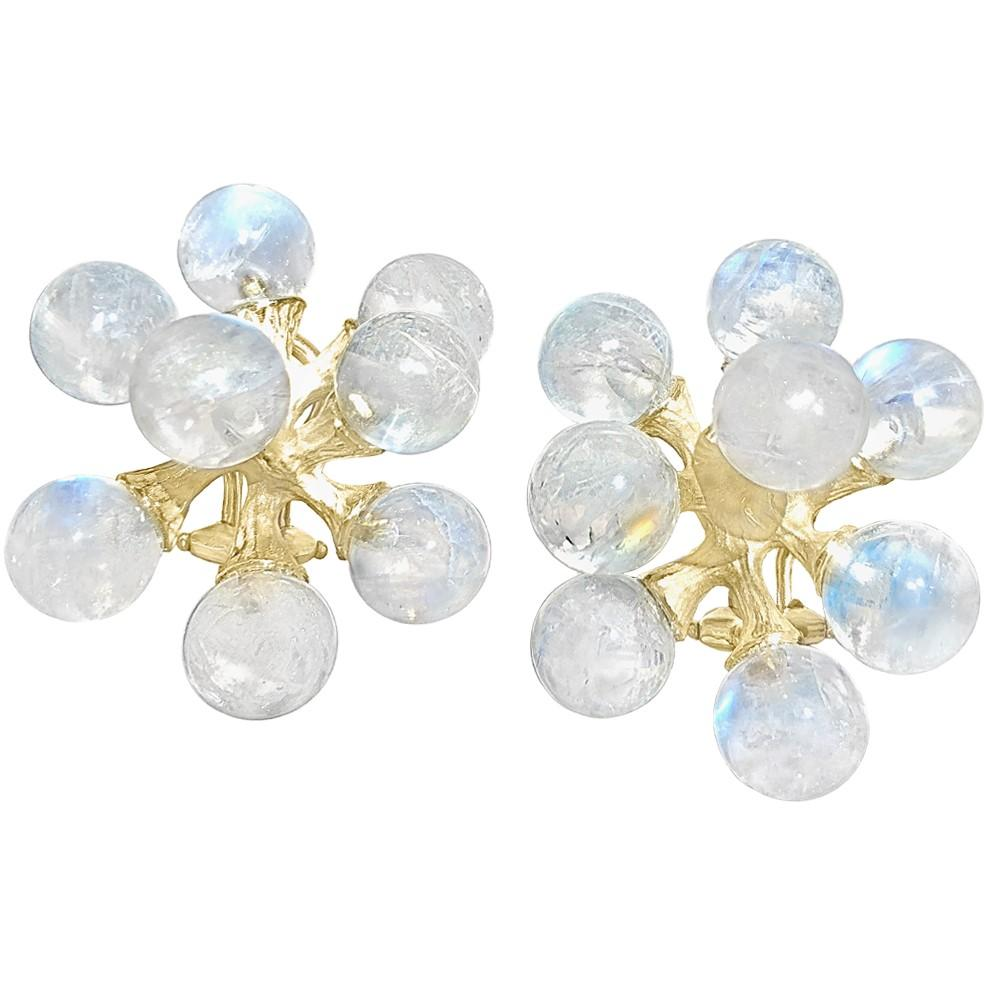 John Iversen Rainbow Moonstone Gold Small Jack Stud Earrings (Special Order) - Szor Collections