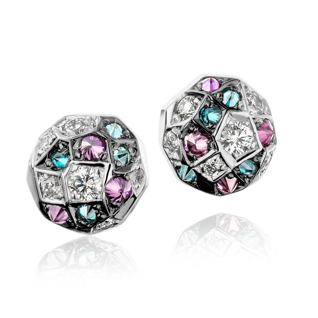 Joke Quick Inverted Blue Purple White Diamond Gold Innervisions Stud Earrings - Szor Collections