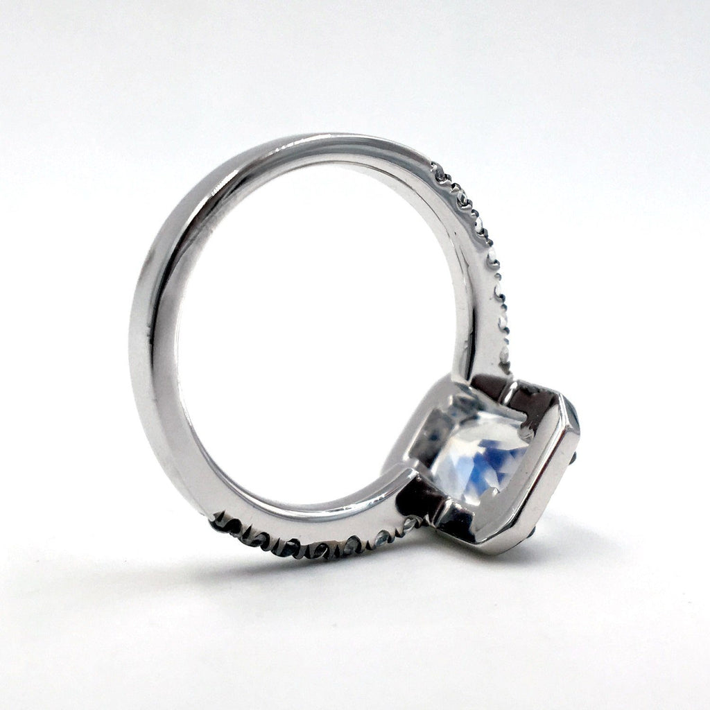 Joke Quick Faceted Rainbow Moonstone White Diamond Twilight Ring - Szor Collections