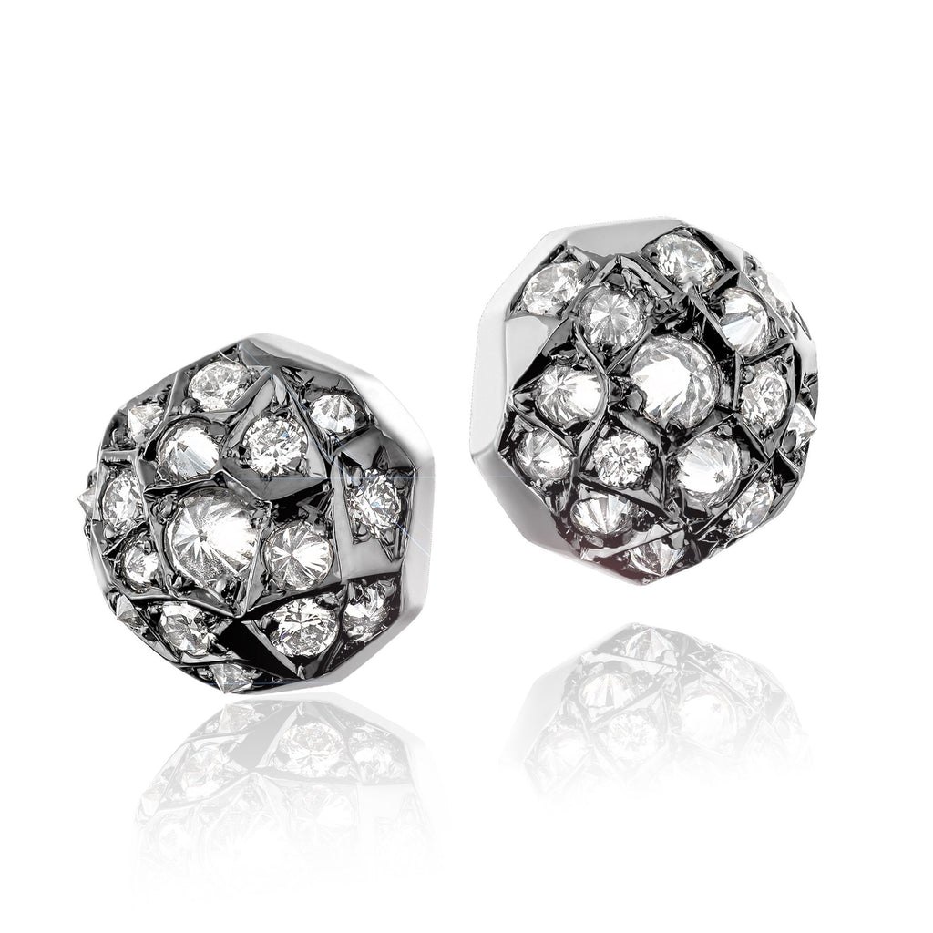 Joke Quick Inverted White Diamond Gold Innervisions Stud Earrings (Special Order) - Szor Collections
